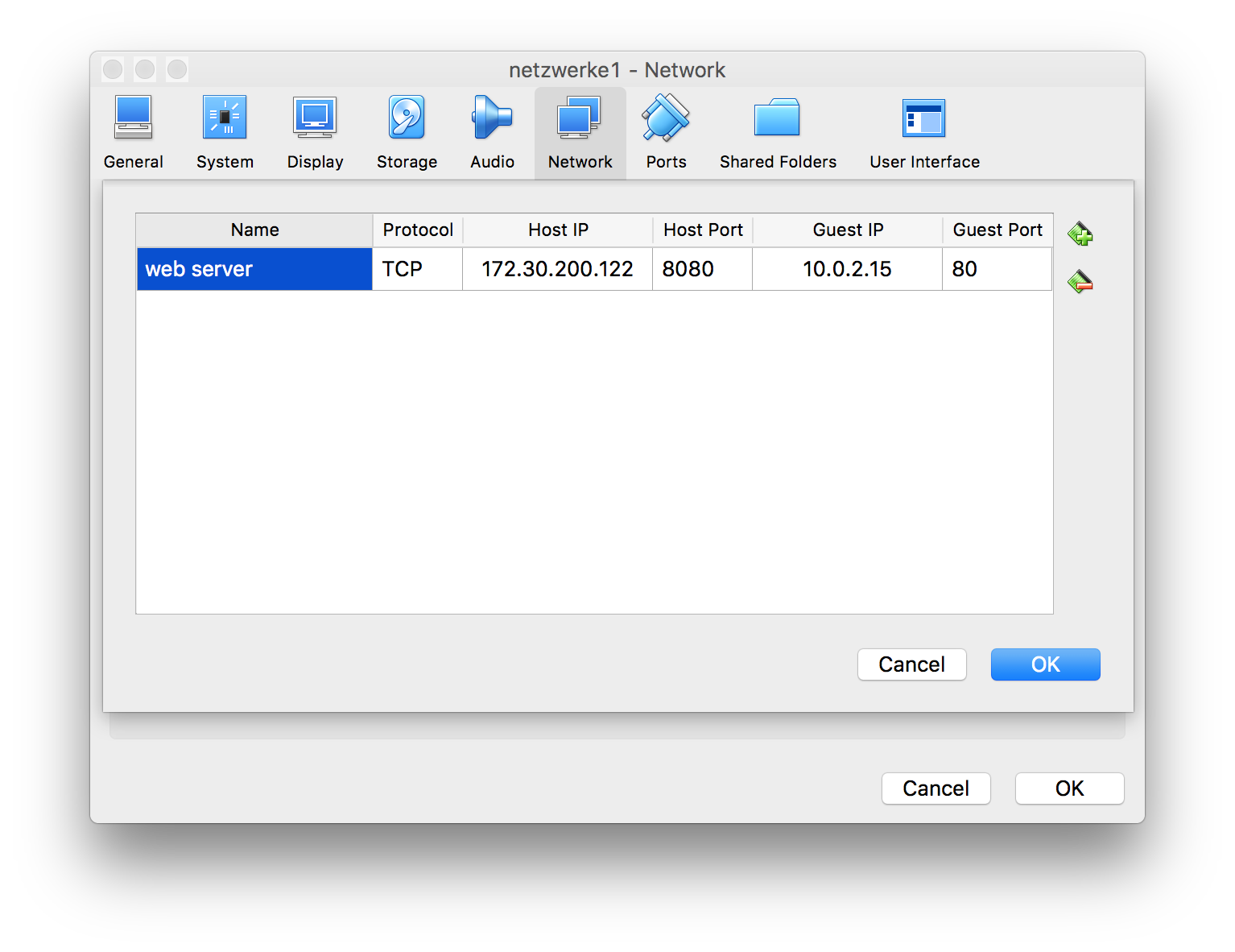 VirtualBox Port Forwarding GUI